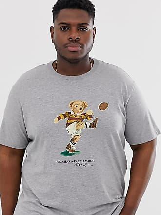 Polo Ralph Lauren Big & Tall - T-shirt grigio mélange con orsetto rugbista