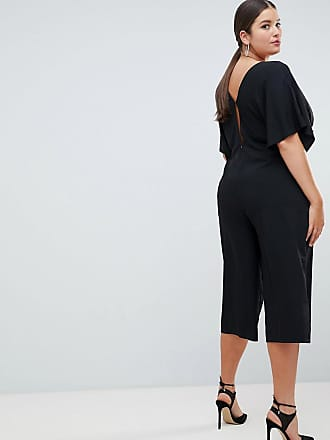 b82a818b755 Asos Curve ASOS DESIGN Curve Tea Jumpsuit With Kimono Sleeve And Button  Detail - Black