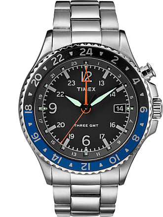 Timex Watch Mens Allied Three Gmt 43MM Bracelet Stainless Steel/stainless Steel/black Item Tw2R43500Vq