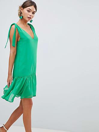 Silver Bloom Tie Shoulder Swing Dress - Green
