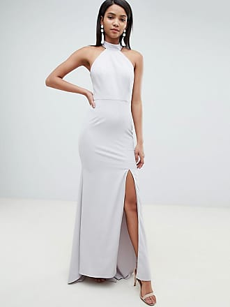 12552bfe2547cf Jarlo high neck fishtail maxi dress with open back detail in grey
