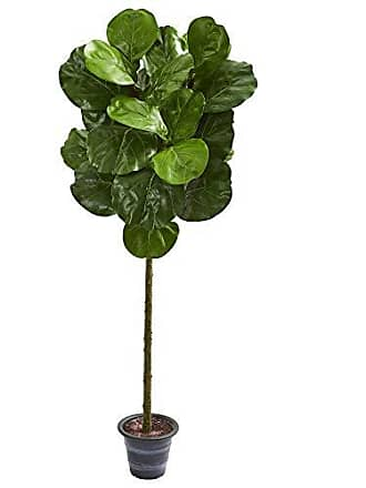 Nearly Natural 9136 4-Ft. Fiddle Leaf Artificial Decorative Planter Silk Trees Green