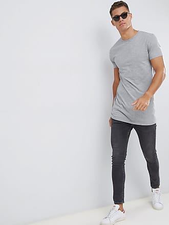 1a5d329f6c8f3 Asos super longline t-shirt with crew neck in gray - Gray