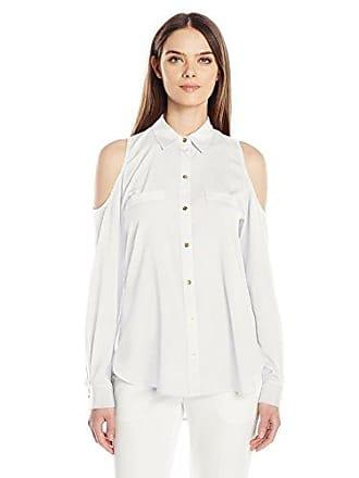 Calvin Klein Womens Long Sleeve Cold Shoulder Button Down Top, Soft White, XL
