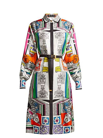 e81441d4c21 Versace Temple Print Silk Satin Shirtdress - Womens - White Multi