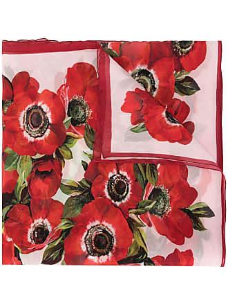 Dolce & Gabbana Echarpe com bordado floral - Vermelho