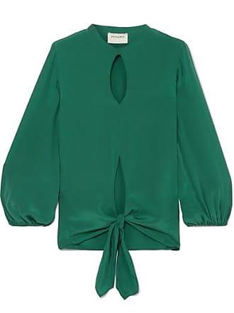 Zeus + Dione Horai Cutout Knotted Silk Crepe De Chine Top - Green
