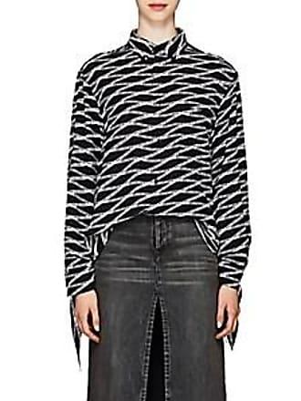 c5c61d99b57fc Balenciaga Womens Losange Logo Silk Crêpe De Chine Blouse - Black Size 34 FR