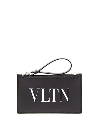 Valentino Vltn Logo Print Leather Card Holder - Mens - Black