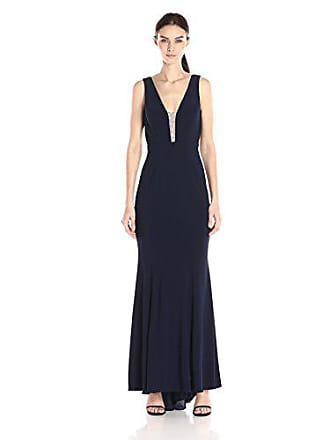 Xscape Womens Long Ity with Bead Deep V Front, Navy/Nude/Silver, 0
