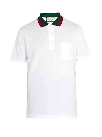 33cb520ad Gucci Web Stripe Trimmed Cotton Piqué Polo Shirt - Mens - White