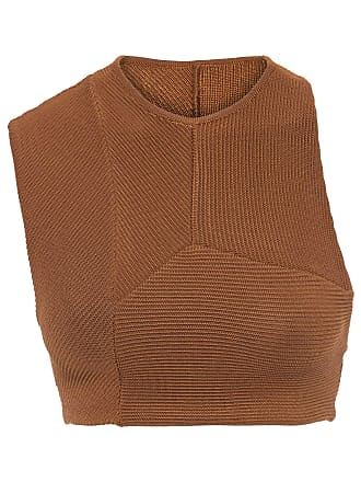 Haight TOP CROPPED TRICOT MULTIRECORTES - MARROM