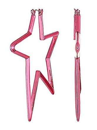 Betsey Johnson Abstract Star Hoop Earrings (Metallic Fuchsia) Earring