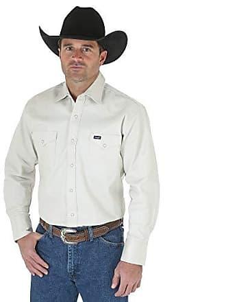 0bce374cf0 Wrangler Mens Authentic Cowboy Cut Work Western Long-Sleeve Firm Finish  Shirt