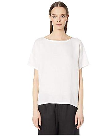 Eileen Fisher Organic Handkerchief Linen Bateau Neck Top (White) Womens Clothing