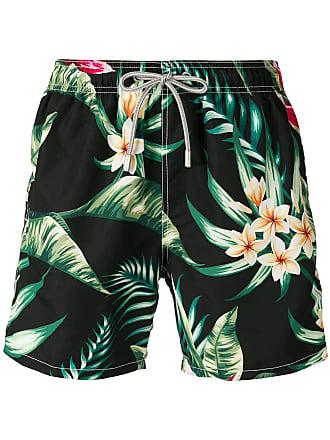 MC2 Saint Barth Short de natação com estampa floral - Preto