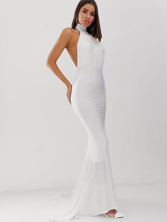 78651f58ea6b Club L high neck backless fishtail maxi dress in white - White