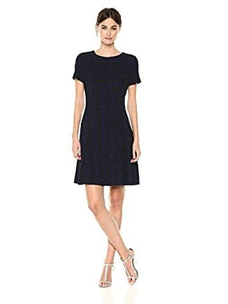 5f8312a6ddb87 Tahari by ASL Womens Short Sleeve Fit and Flare Dress with Beaded  Detailing, Navy,