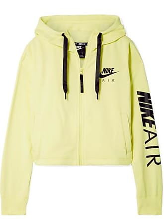 Nike Air Cropped Printed Cotton-blend Fleece Hoodie - Chartreuse