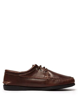 Quoddy Blucher Lace Up Moccasins - Mens - Brown