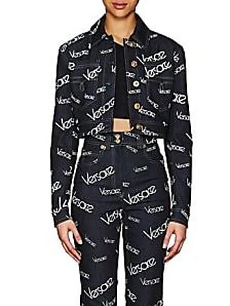 8204bd3de1c7 Versace Womens Logo Mania Denim Crop Jacket - Dk. Blue Size 46 IT