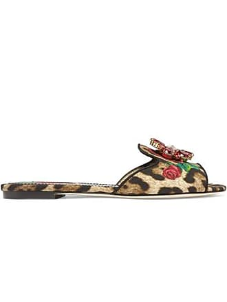 8882787b2532 Dolce   Gabbana Crystal-embellished Leopard And Floral-print Canvas Sandals  - Leopard print