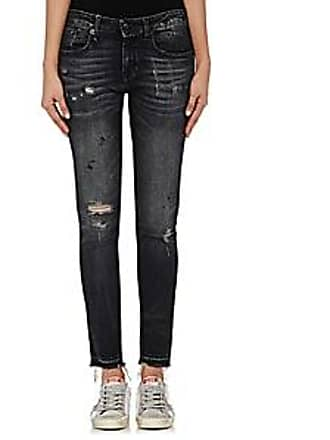 R13 Womens Alison Skinny Distressed Jeans - Strummer Black Size 24