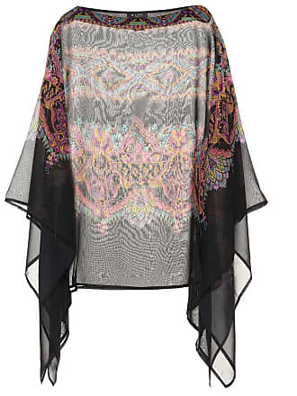 Etro Printed silk poncho top