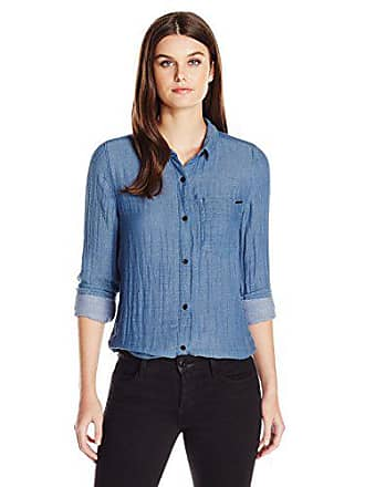 Calvin Klein Jeans Womens Oxford Crinkle Double Cloth Long Sleeve Button Down Shirt, Dark Slate Blue, Large