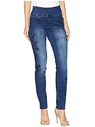 Jag Jeans Womens Nora Skinny Pull on Jean with Embroidery, Kodiak Blue, 4