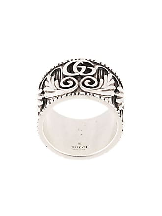719015703 Gucci Double G leaf motif ring - Silver