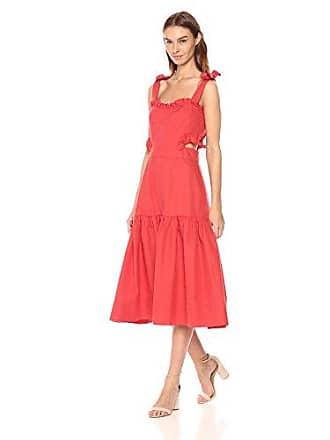 Rebecca Taylor Womens Sleeveless Cotton Midi Dress, Cerise, 6