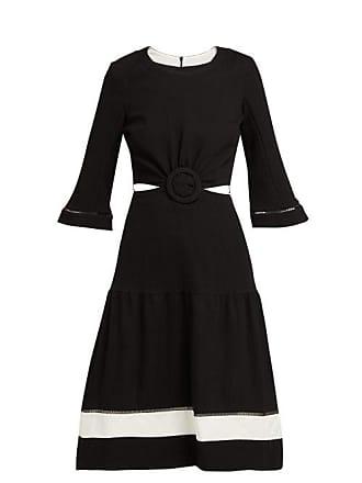 Zeus + Dione Parthenon Buckled Plissé Dress - Womens - Black White