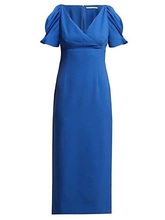 Emilia Wickstead Karinette V Neck Midi Dress - Womens - Blue