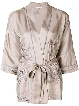 Gold Hawk Blusa bordada de seda - Cinza