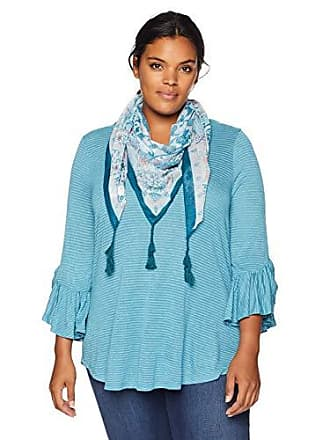 Oneworld Womens Plus Size 3/4 Sleeve Stripe Top with Tassel Scarf, Aquifer 3X