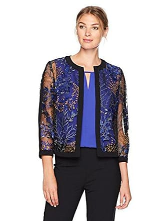 Kasper Womens Flyaway Printed Lace Jacket, iris Multi, 8