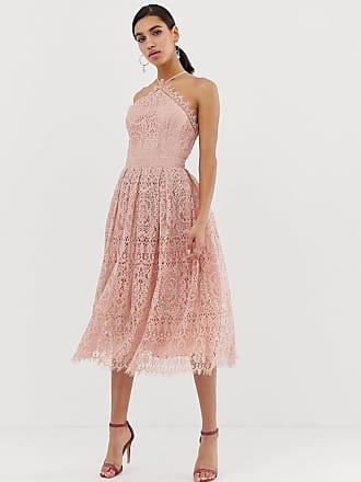 76fe2790b9ea Asos Midiklänning i spets med topp i förklädesmodell - Ljusrosa