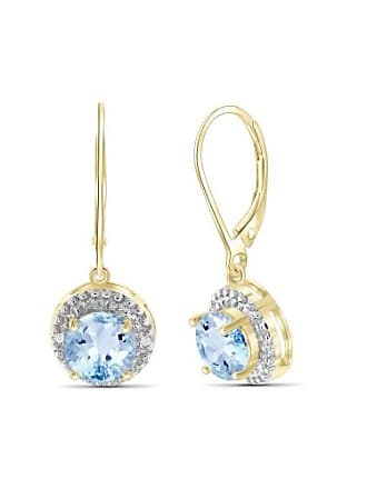 JewelersClub JewelersClub 3 1/5 Carat T.G.W. Sky Blue Topaz And White Diamond Accent 14kt Gold Over Silver Drop Earrings