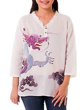 Novica Cotton batik tunic, Majestic Naga - Thai Batik Cotton Tunic