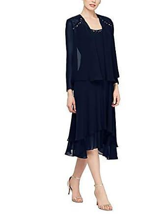 S.L. Fashions Womens Embellished Chiffon Tiered Jacket Dress, Navy, 10