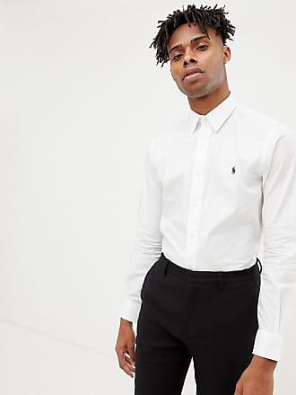 3318f6eaa4c5 Polo Ralph Lauren slim fit poplin shirt player logo phillip collar in white