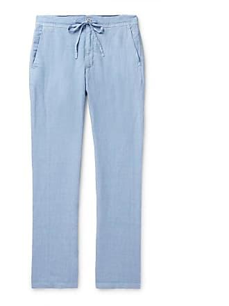 120% CASHMERE Linen Drawstring Trousers - Light blue