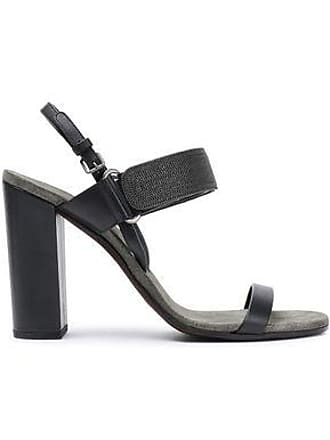 4d6656fe0 Brunello Cucinelli Brunello Cucinelli Woman Bead-embellished Leather Sandals  Charcoal Size 41