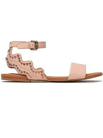 b98dbe18b6ff See By Chloé See By Chloé Woman Crystal-embellished Scalloped Leather  Sandals Pastel Pink Size
