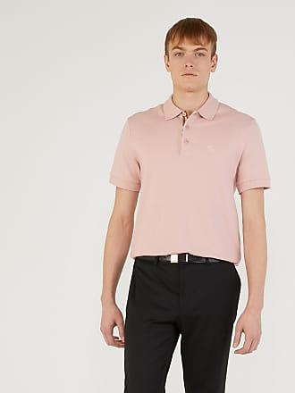 Burberry Polo homme en coton avec patte de boutonnage à motif check Rose  Burberry fb9bbae4efd