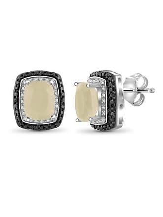 JewelersClub JewelersClub 6 Carat T.G.W. Moonstone and White Diamond Accent Sterling Silver Earrings
