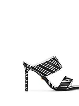 Versace Womens Logo-Print Leather Mules - Black Size 8.5