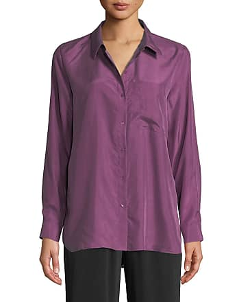 7fcb2946 Eileen Fisher Petite Washed Silk Habutai Long-Sleeve Button-Front Blouse