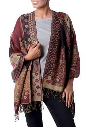 Novica Jamawar wool shawl, Modern Paisley Mix